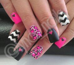 Matte nail polish & hearts nail art design