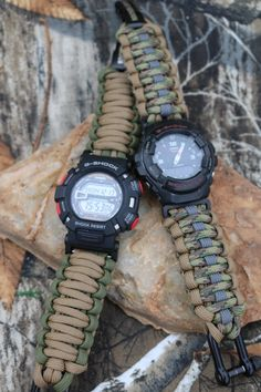 Custom Paracord Watch Bands for most any watch, most reliable rugged outdoor strap for Apple, Samsung, Casio, many Paracord Watch, G Shock, Casio Watch, Watch Bands, Survival, Watches, Clock, Samsung, Shades