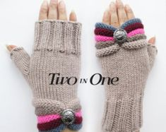 Fingerless gloves Two in One Beige Fingerless Hand Warmers Light Brown Wrist Warmers Knitted Striped Gloves Gift for Woman New Design – armstulpen stricken Crochet Mittens, Crochet Gloves, Fingerless Gloves Knitted, Knitted Hats, Knitting Patterns Free, Baby Knitting, Half Gloves, Striped Gloves, Tuto Tricot