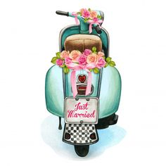 Watercolor wedding scooter with floral d. Watercolor Wedding, Watercolor Flowers, Watercolor Paintings, Frida Art, Decoupage Paper, Floral Border, Cute Art, Amazing Art, Art Drawings