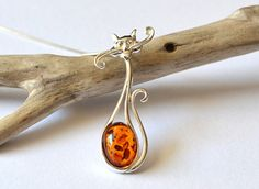 Amber Cat Necklace Sterling Silver cat pendant by AmberSheerBeauty