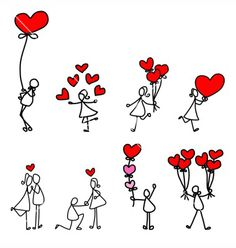 Cartoon character happy lovers wedding vector image on VectorStock Best Love Poems, Calligraphy Doodles, Hanging Hearts, Love Illustration, Jolie Photo, Stick Figures, Illustrations, Easy Drawings, Doodle Art