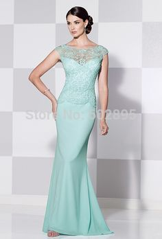 Find More Mother of the Bride Dresses Information about Brand new lace chiffon mint green mother of the brides dresses capped sleeves boat neck long modest dress for mother's day 2015,High Quality dress up girls clothes,China dress white dress Suppliers, Cheap dress shoes for less from youthbridal on Aliexpress.com