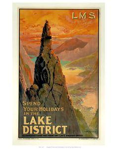 Lake District #LMS #Vintage #Rail #Railway #Train #Poster #Posters #Prints #Print #Art #UK #Britain #British #Old #Travel #Cumbria www.vintagerailposters.co.uk