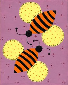 """Buzzing Together"". Acrylic on canvas, 8"" x 10"" by Peggy Markham. I painted this for my daughter's bedroom when she was 8."
