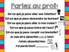Printable French Classroom Poster - Parlez au Prof! / Phra