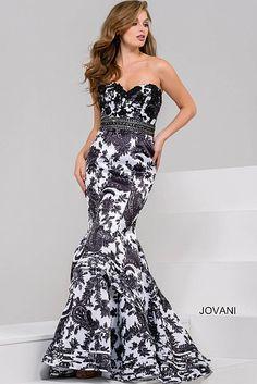Ivory Black Sweetheart Neck Mermaid Dress 49655