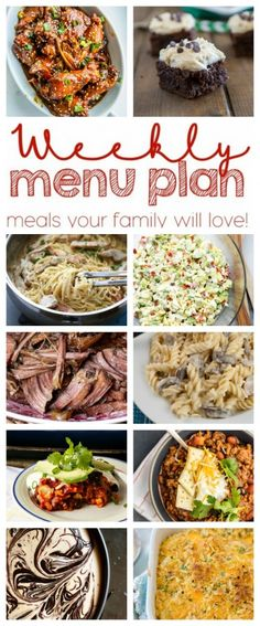 Weekly Meal Plan (Week 34) - 10 great bloggers bringing you a full week of recipes including dinner, sides dishes, and desserts!
