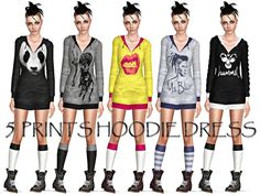 5 Prints Hoodie Dress by Ms Blue - Sims 3 Downloads CC Caboodle