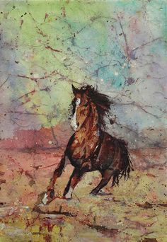 Watercolor batik painting on Japanese rice paper of horse running across landscape by RFoxWatercolors