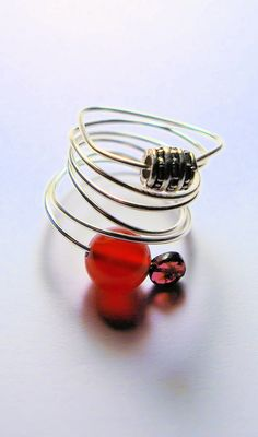 Silver wire ring with silver carnelian and by HandmadebyEleri, £10.00