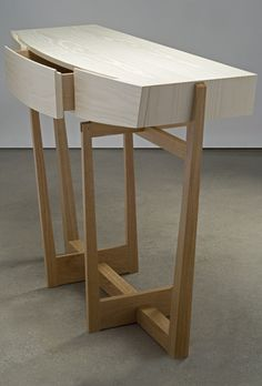 cirrus console entry/hall table detail - bleached ash and white oak - Eben Blaney Furniture Furniture Styles, Metal Furniture, Contemporary Furniture, Furniture Design, Woodworking Inspiration, Furniture Inspiration, Carpentry And Joinery, Cool Tables, Woodworking Furniture