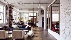 Open living space in a renovated loft located near the Brooklyn Naval Yard.