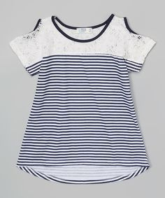 A lightweight cotton blend ensures adventure-ready comfort for little sweethearts. Lace accents add bundles of charm. Katies Fashion, Cut Out Top, Little Girl Outfits, Navy Lace, Ballet, Top Girls, Girl Fashion, Cotton, Shirts
