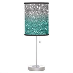 Teal Silver Glitter look Sparkle Ombre Sequin Table Lamp
