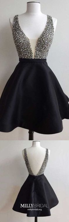 Short Homecoming Dresses Black, A Line Homecoming Dresses V Neck, Open Back Homecoming Dresses Satin, Tulle Homecoming Dresses Crystal