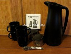 Tupperware Coffee House Collection Thermos Tup Pitcher Cups Sugar & Creamer Set