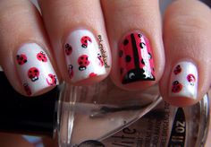Nail Ideas: Ladybug Nails!  Sonja thought you'd like this! I wish I had white but I may try it tonight with just red and black and white paint for the eyes.