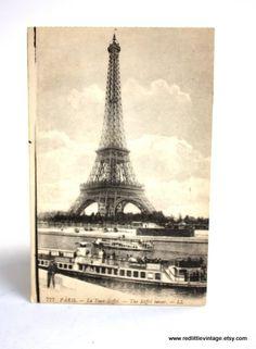 B&W Eiffel Tower Vintage Postcard Paris France by RedLittleVintage, $12.00