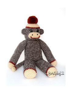 Classic Crochet Sock Monkey Doll / Photo Prop (HAT SOLD SEPARATELY) Crochet Sock Monkeys, Double Crochet, Crochet Toys, Photo Props, Monkey Doll, Teddy Bear, Socks, Unique Jewelry, Hats