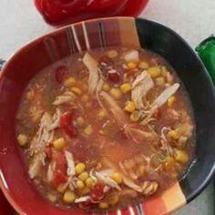Enchilada Soup - Tasty and easy to make 6 Servings Crock Pot Soup, Slow Cooker Soup, Crock Pot Cooking, Slow Cooker Recipes, Crockpot Recipes, Soup Recipes, Cooking Recipes, Chicken Recipes, Recipies