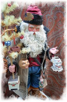 """Original German style Santa candy container 36"""" tall created by Scott Smith © Rucus Studio 2014"""