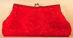 Red and sequinned clutch bag - Shop - Gala Evening Accessories