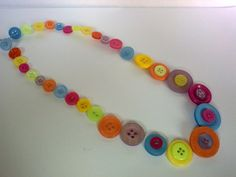 OOAK Handmade Button Necklace Citrus Bright 18 by TheHomemadeHaven, £12.00