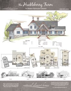 farm house design Projects is part of Best Farmhouse Interior Ideas And Designs For - Huckleberry Farm Natural Element Homes Farmhouse Farm Plans, Farmhouse Plans, Modern Farmhouse, Farmhouse Homes, Cabin Floor Plans, Timber Frame Homes, Garage Addition, Decks And Porches, Farmhouse Interior