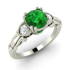 Nadine Ring with Round Emerald, SI Diamond | 1.31 carat Round Emerald  Sidestone Ring in 14k White Gold | Diamondere