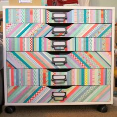 Washi tape Ikea Alex hack by Jenny Marie Sims! Washi Tape Cards, Washi Tape Diy, Masking Tape, Washi Tapes, Washi Tape Furniture, Funky Furniture, Furniture Ideas, Tape Crafts, Diy Crafts