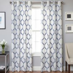 Featuring beautiful linen fabric embroidered with a geometric pattern, the Beverly Window Curtain Panel brings modern style and elegant design to any room in your home. The grommet top provides a clean look that will complement a variety of home décors. Bathroom Window Curtains, Living Room Decor Curtains, Bathroom Windows, Bedroom Curtains, Playroom Curtains, Sunroom Windows, Bedroom Decor, 108 Inch Curtains, Linen Curtains
