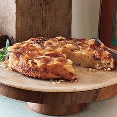 Upside-Down Apple Tart | Slow-cooked sweetened apples combine with a shortbread base for an irresistible buttery tart. For a special adult treat, serve with a scoop of vanilla-bean ice cream drizzled with premium boubon and spinkled with fresh coffee grounds. | SouthernLiving.com