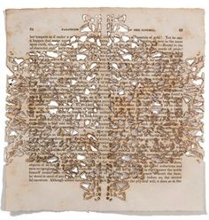 Artist Donna Ruff works with old books, papers and drawings – and even uses discarded pages of The New York Times for her ornately pierced pieces. She methodically cuts and burns all of her pieces by hand, leaving traces of lace and delicate patterns reminiscent of calligraphy and natural forms.