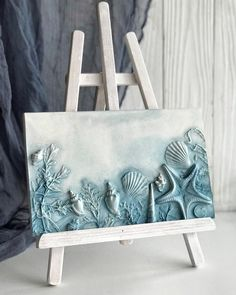 Plaster Art, House Wall, Seashell Crafts, Blue Square, Sea Shells, Wall Art Decor, Farmhouse Decor, Etsy, Pottery