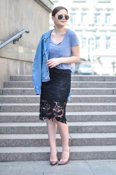Photo by Juliet Polilova, Russian Doll Fashion blog. Street Style. Looks. Outfits. Trends. Inspiration. Denim jacket. Laced midi pencil skirt.