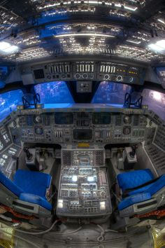 Fisheye view of the interior of the cockpit in the mockup Space Shuttle Adventur - Whirlpool Galaxy-Andromeda Galaxy-Black Holes Apollo 11, Cosmos, Space And Astronomy, Astronomy Science, Nasa Space Program, Spaceship Interior, Whirlpool Galaxy, Space Center, Air Space
