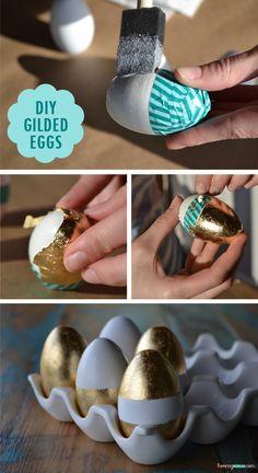 DIY gilded Easter eggs