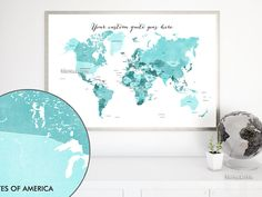 Custom quote - printable world map with countries in distressed texture. Color combo: Gabriel #CustomMapPoster #CustomDesignedPrintable #CustomArtPrint #CustomMap #AquamarineBlue #CustomMapPrint #CustomQuote #custom #aquamarine #CustomPrintable