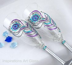 Hand painted Peacock Wedding glasses Champagne glasses Peacock