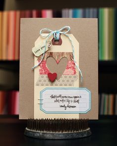 Tag Card, kraft heart journal spot twine punch