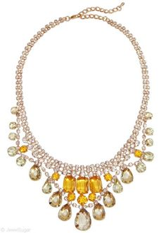 Crystalline Color Drop Necklace in Citrus   glass and acrylic crystal statement bib necklace   JewelSugar