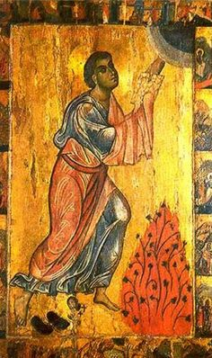 Icoane de la Manastirea Sfanta Ecaterina Byzantine Icons, Byzantine Art, Burning Bush, Religious Icons, Black Hebrew Israelites, Old Testament, Sacred Art, Saints, Figurative Art