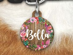 Floral Wood Pet Tag - Girly Pet Tag - Dog Tags For Dogs - Double sided Pet tag - Pet ID Tag - Dog Tag - Personalized Dog Tag- Pink Tag by MysticCustomDesignCo on Etsy
