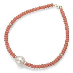 """14k Yellow Gold 9-9.5mm White Freshwater Cultured Pearl 4mm Simulated Orange Coral Bracelet 7.25"""" *** To view further for this item, visit the image link."""