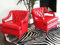Mid Century Modern HOLLYWOOD REGENCY Red Patent Button Tufted Open Arm Kwid Lounge CHAIRS