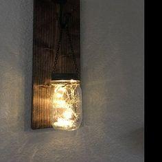 Hanging mason jar wall sconce set of 2 mason jar sconce with Mason Jar Wall Sconce, Hanging Mason Jars, Mason Jar Lighting, Colored Mason Jars, Painted Mason Jars, Farmhouse Wall Decor, Rustic Decor, Quart Size Mason Jars, Cream Walls