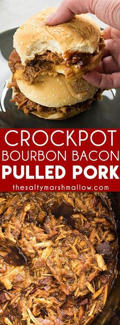 Crockpot Pulled Pork:  This pulled pork is cooked to perfection right in the slow cooker!  Easy to make and packed with flavor from brown sugar, bourbon, spices, and BBQ sauce!
