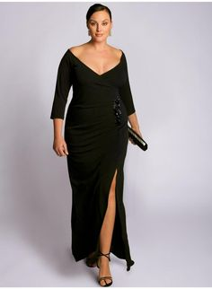 "Garbo Gown. IGIGI by Yuliya Raquel. www.igigi.com I love this dress, even though the website says it's ""Black"" it looks Olive green to me...Would love it in emerald or olive green. :)"