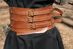 Wide 7 Brown Leather Belt with three buckles by MadebyHandLeather
